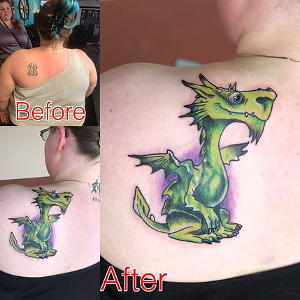 cover up, cover up tattoo, dragon tattoo, dragon cover up tattoo, swamp dragon tattoo, color cover up, color cover up tattoo, gregg allan, tattoo gallery, tattoo gallery ocala, ocala tattoo