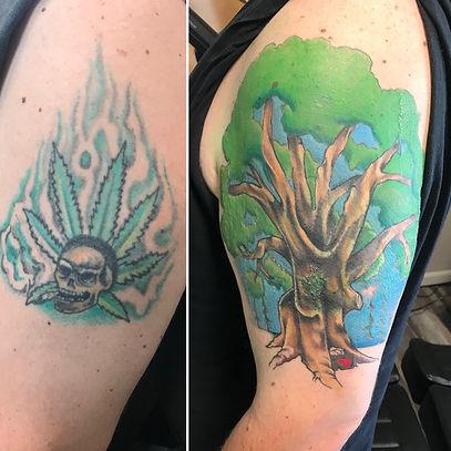 cover up tattoo, tree tattoo, best tattoo, gregg allan, tattoo gallery ocala, ocala tattoo, gregg allan, tattoo near me,