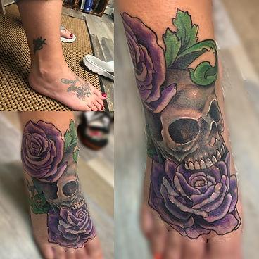 skull tattoo, rose tattoo, cover up tattoo, cover up, tattoo, best tattoo, gregg allan, tattoo gallery, tattoo gallery ocala, ocala tattoo, belleview tattoo, summerfield tattoo, gainesville tattoo, orlando tattoo, central florida tattoo, florida tattoo