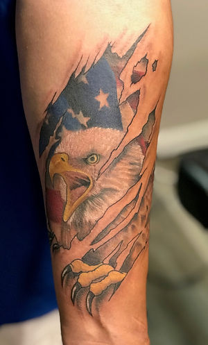 eagle tattoo, patriotic tattoo, skin rip tattoo, american flag tattoo, gregg allan, tattoo gallery ocala, ocala tattoo, ocala, best tattoo, tattoo near me