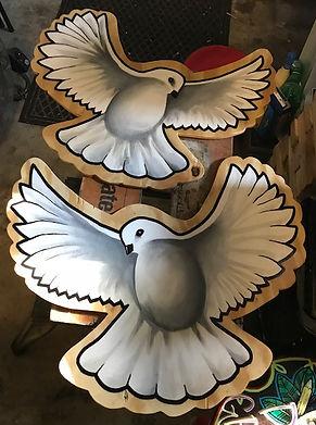 custom artwork, handmade wood cutout, painted doves