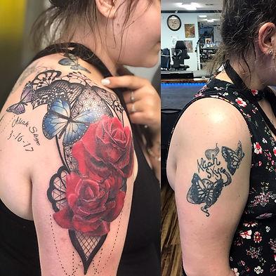 cover up, cover up tattoo, rose cover up tattoo, butterfly tattoo, color cover up, rose tattoo, gregg allan, tattoo gallery, tattoo gallery ocala