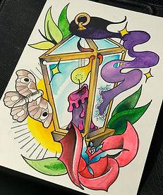 custom art, cusom arwork, rose, lantern, moth, candle, custom design, tattoo design