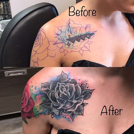 cover up, cover up tattoo, rose cover up tattoo, shoulder tattoo, rose tattoo, gregg allan, tattoo gallery, tattoo gallery ocala, ocala tattoo