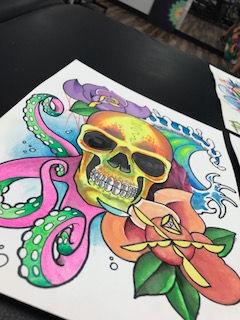 custom art, arwork, painting, sull, flowers, octopus, waves, tropistyle art