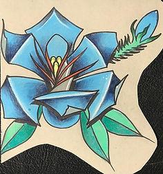 custom art, custom artwork, avilable tattoo designs, blue flower, blue rose