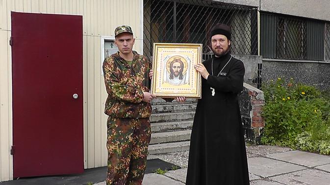 Передача Русской Православной Церковью  в дар казачьему кадетскому  классу иконы лик «Иисуса Христа»