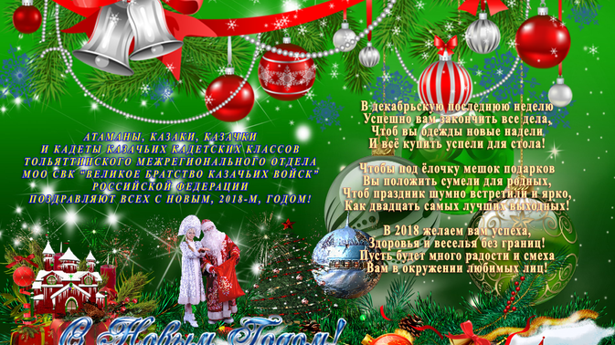 Тольяттинский Межрегиональный Отдел МОО ВБКВ РФ поздравляет с Новым, 2018-м, Годом!