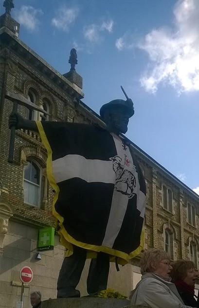 Redruth Cornish Miner Statue with Cornish Flag