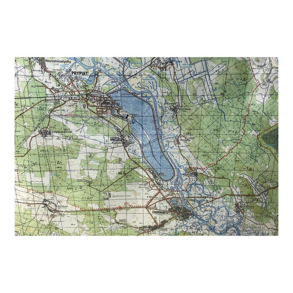 Carte de la zone d'exclusion autour de la centrale de Chernobyl