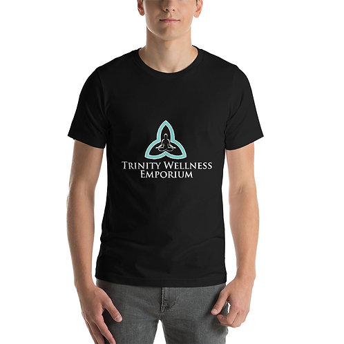 Short-Sleeve White Logo Unisex T-Shirt