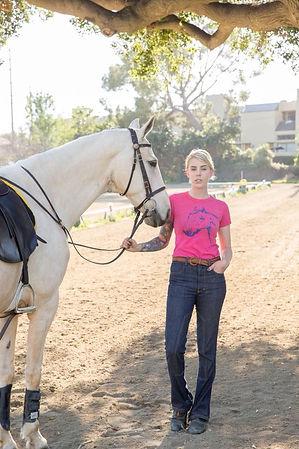 Owner/Trainer: Erin Kennedy and her Saddlebred, Trinket modeling some jodphurs for Artax Equestrian.