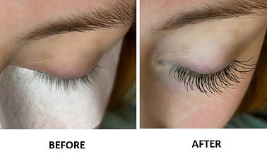 Lash extensions before and after photos with natural but fuller lashes