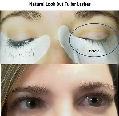 Before and after photo of client with natural but fuller lashes