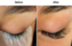 Before and after Tacoma eyelash extensions on a client