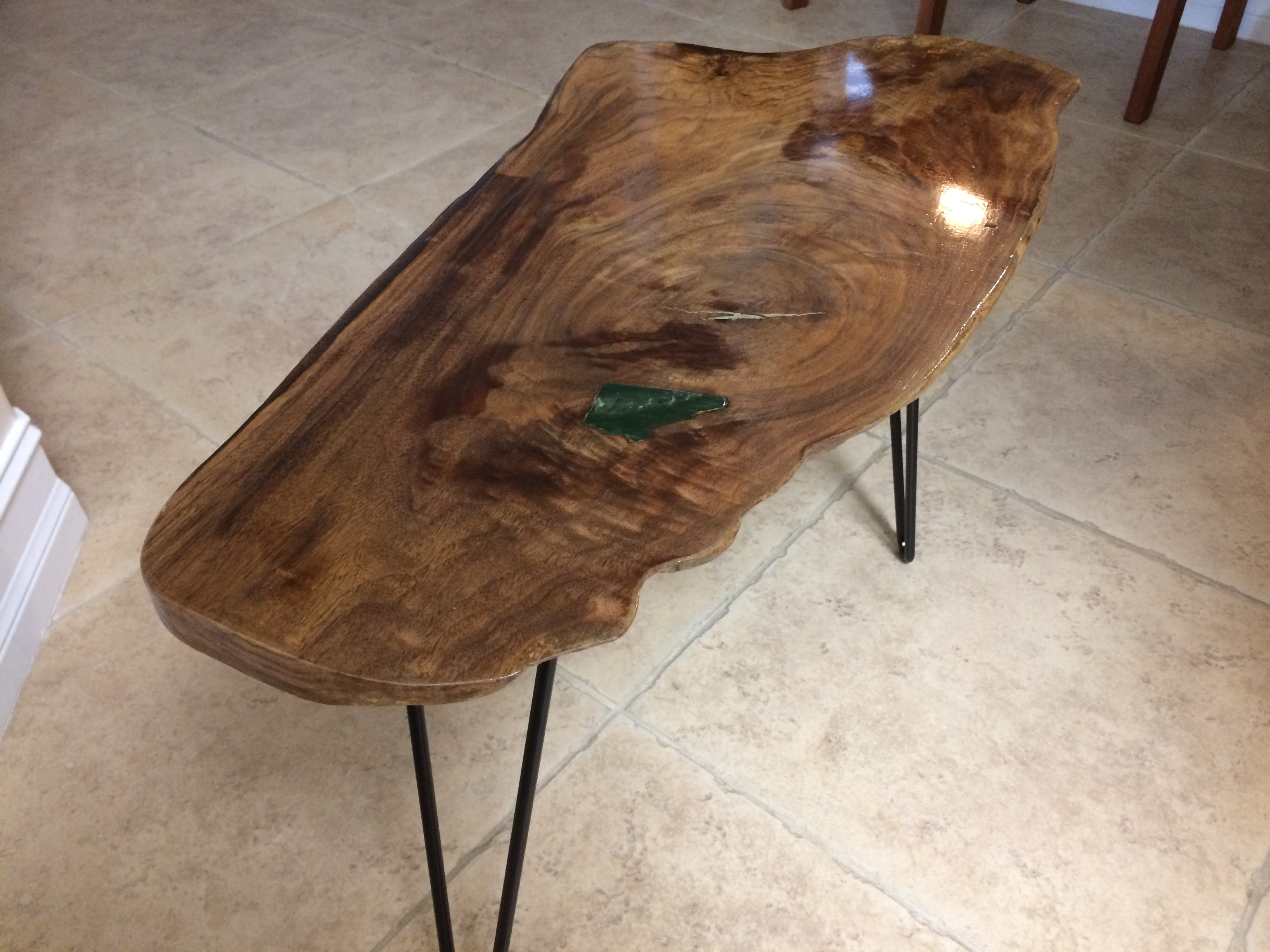 small walnut slab table