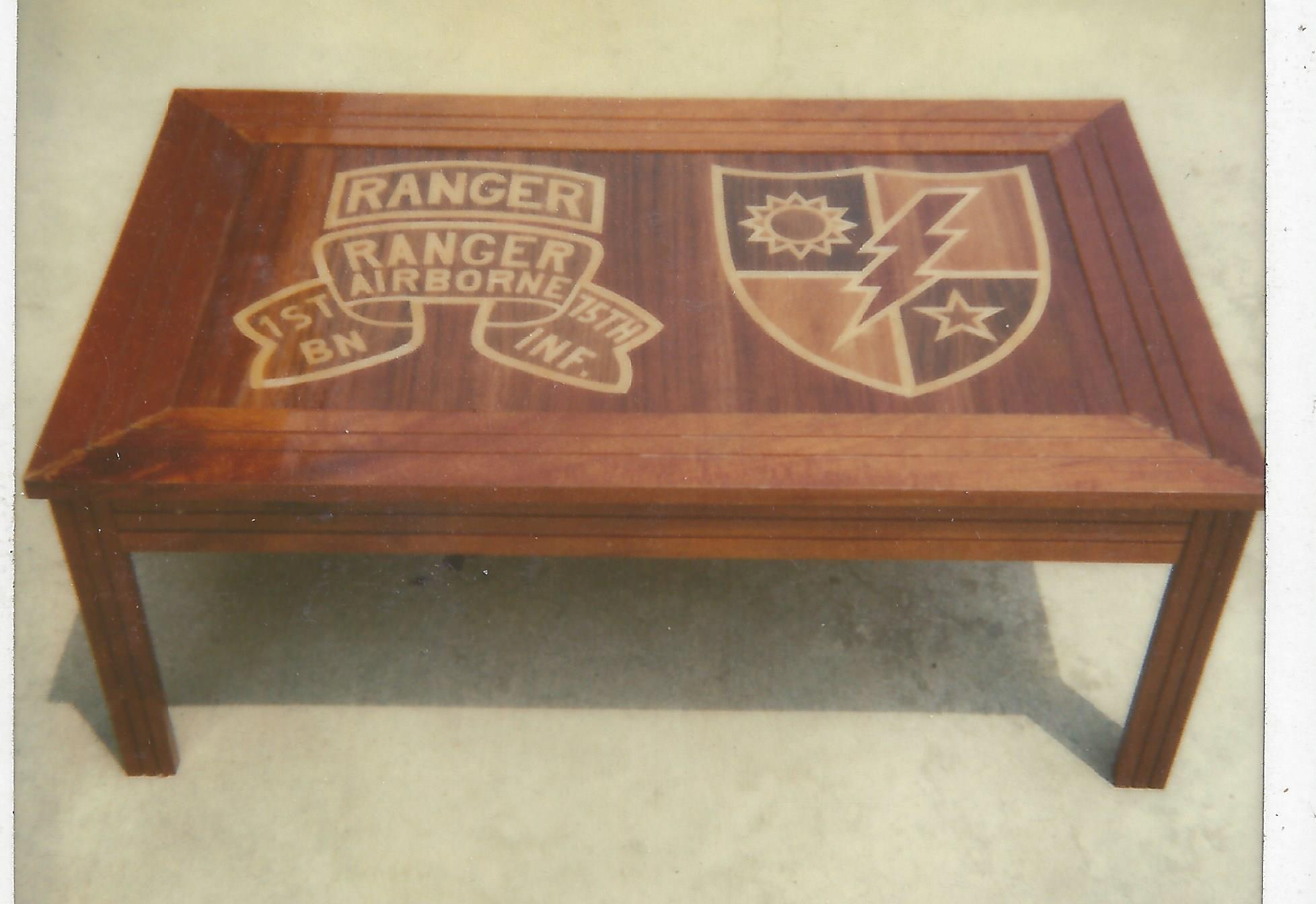 inlaid table with ranger