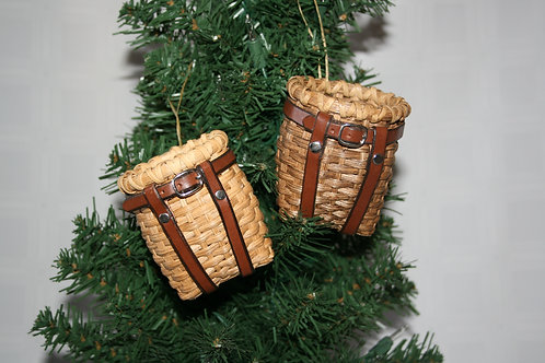 Ornament - Decorative Adirondack Pack Basket with Leather Harness
