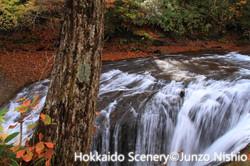 晩秋の白扇の滝_恵庭渓谷