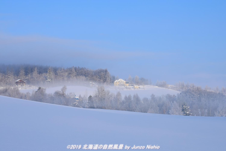朝霧晴れ行く丘