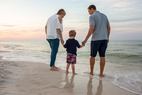 Family photographs of three