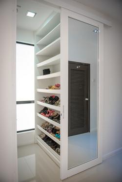 shoe glass door