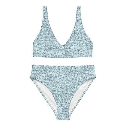 Recycled high-waisted bikini - Blue