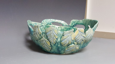 carved leaves, handbuilt bowl