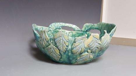 carved leaves, handbuilt bowl