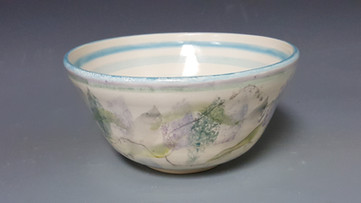 hand painted wheel thrown bowl, instructor