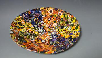 Mosaic, handbuilt platter, Karen Smith, instructor