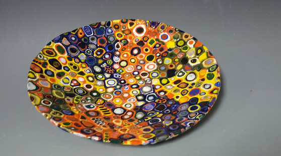 Mosaic, handbuilt platter, Karen Smith, instructor