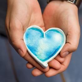 Ceramic Heart wall decor blue heart smal