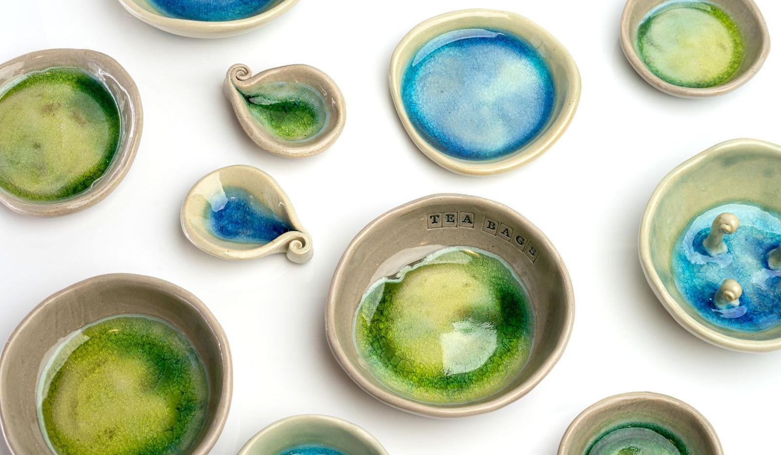 sea and stone&moss dishes irish ceramics