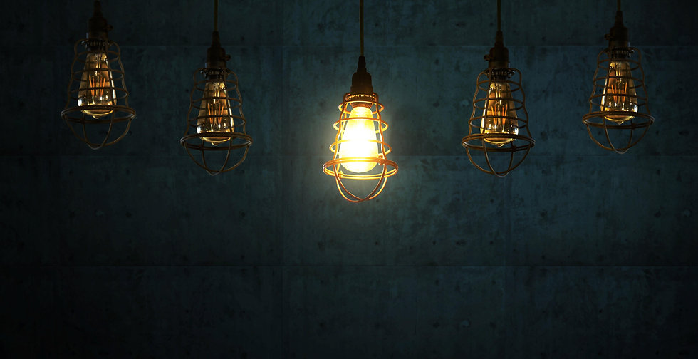 Five Light Bulbs, symbolising marketing ideas