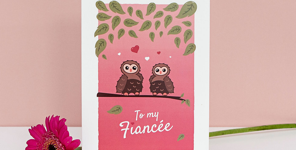 Pink To My Fiancee Valentines Day Greetings Card Lesbian Girls Partner