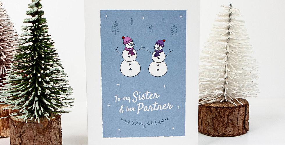 Sister and Her Same Sex Partner Reindeer Xmas Greetings Card
