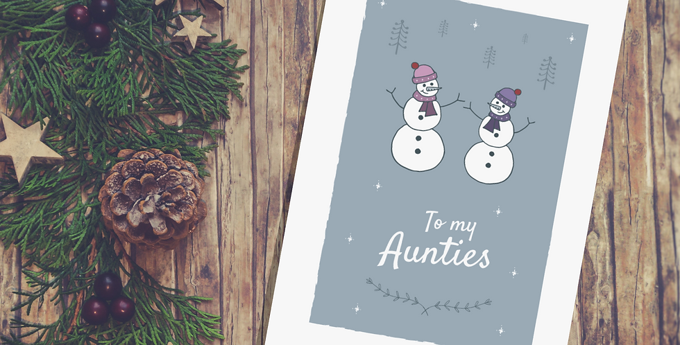 Snowman Design Two Aunties Christmas Card