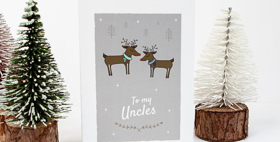 To my Uncles Reindeer Xmas Greetings Card
