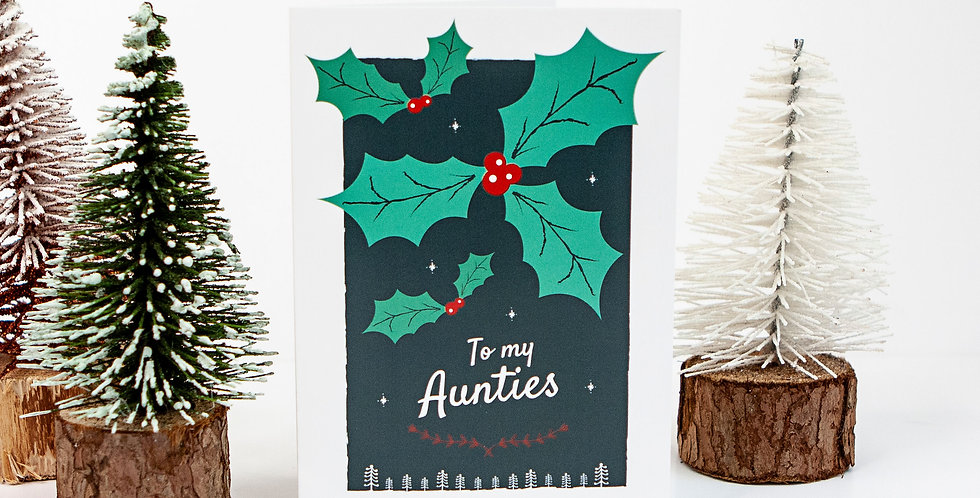 To My Aunties Holly LGBT Christmas Card