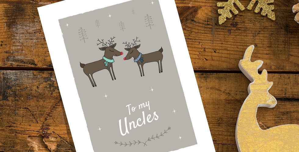 To my Uncles Reindeer Christmas Card Design