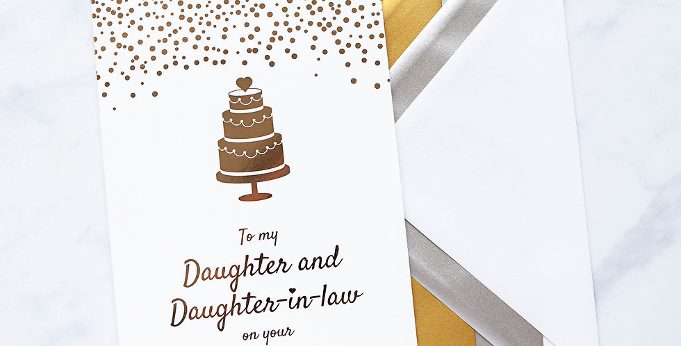 Daughter and Daughter-in-law Wedding Day Card