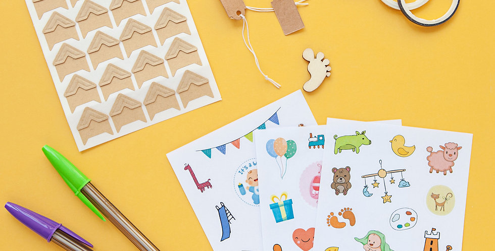 Unisex baby sticker and accessories gift set