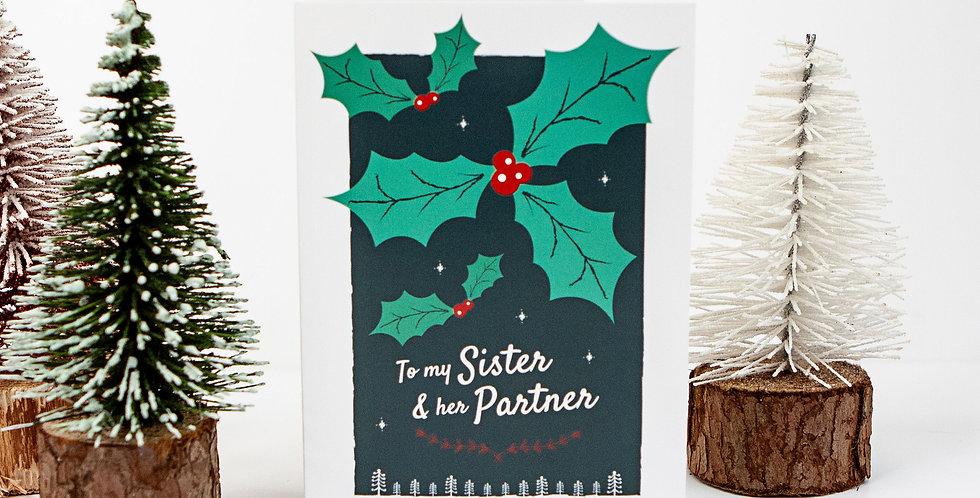 Sister and Lesbian Partner Holly Xmas Greetings Card
