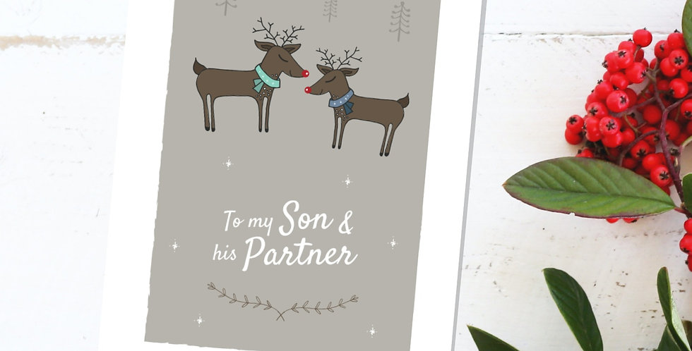 To my Son and his Partner Reindeer Christmas Card Design