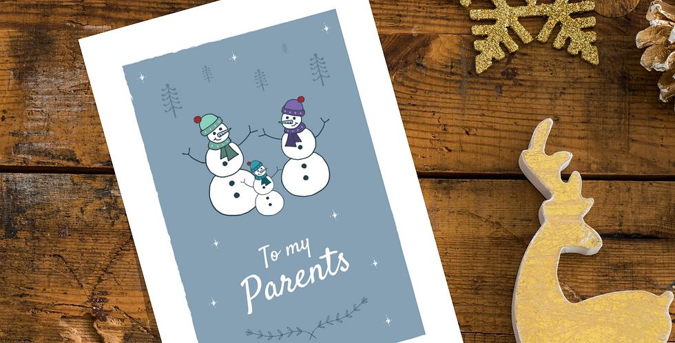 To my Parents Snowmen Christmas Card Design