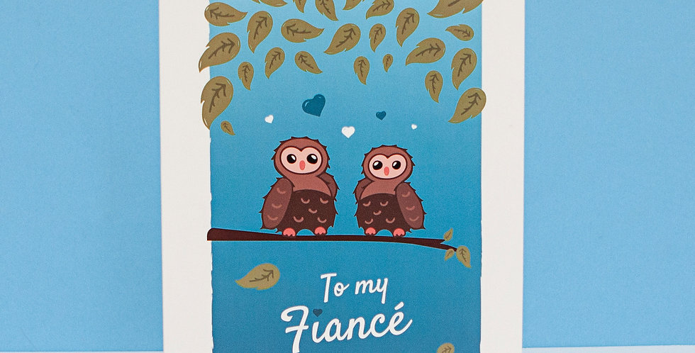 Blue To My Fiance Valentines Day Greeting Card Cute Owls