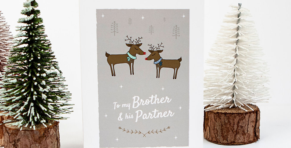 Brother and His Partner Christmas Card Reindeer