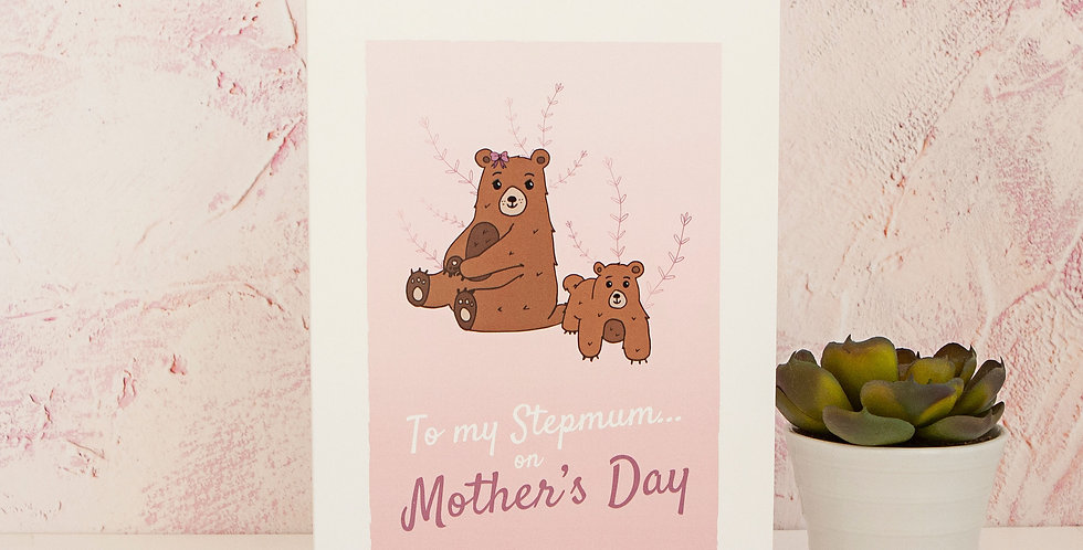 Pink To my Stepmum on Mothers Day Greetings Card