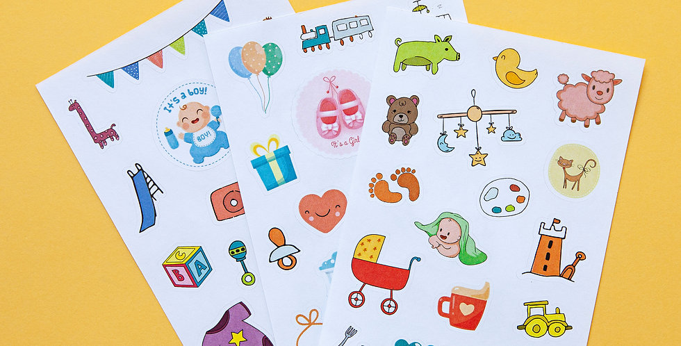 Unisex baby sticker sheet set by Little Pickle Memories